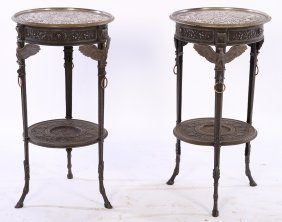 Pair 19th Cent. Cast Iron Side Tables