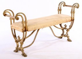 Regency Style Cast Wrought Iron Bench Upholstered