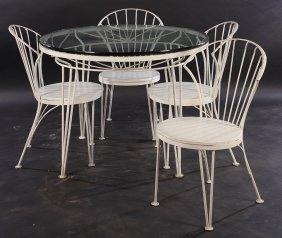 Wrought Iron Garden Set Table & Four Chairs
