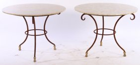Pair Wrought Iron Gueridons Marble Tops Bronze