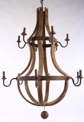Large Wrought Iron & Wood Basket Form Chandelier