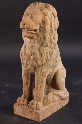 Carved Rosa Verona Marble Seated Garden Lion