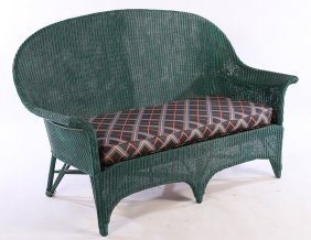2 Pcs Vintage Green Painted Wicker Couch & Chair