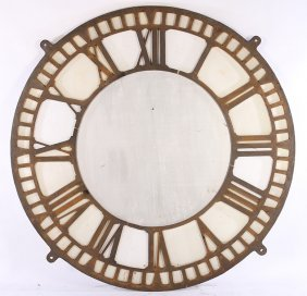 Cast Iron Clock Face Roman Numerals Opaque Panels