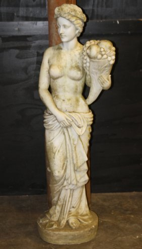 Carved Marble Garden Statue Young Woman