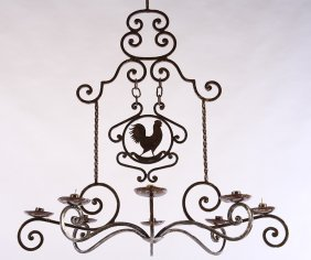 8 Arm French Iron Candle Chandelier With Roosters