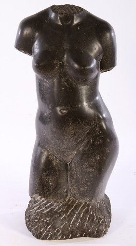 Carved Marble Partial Torso Nude Female Signed