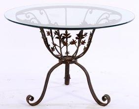 Wrought Iron Glass Top Garden Table 1940