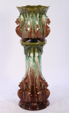 Majolica Jardiniere On Stand Griffins C. 1910