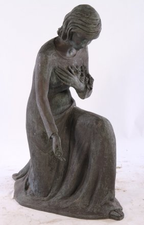 Life Sized Bronze Garden Statue Kneeling Woman