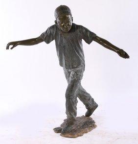 Bronze Figur Of Young Man Signed Jim Davidson