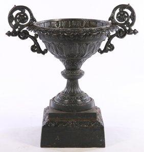 19th Cent. Cast Iron Garden Urn Fiske