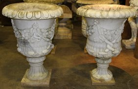 Pair Carved Marble Garden Urns Floral Decoration