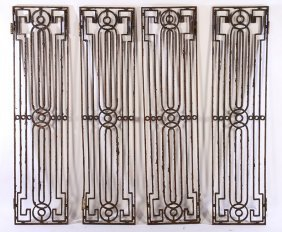 4 Wrought Iron Door Or Window Panels 1900