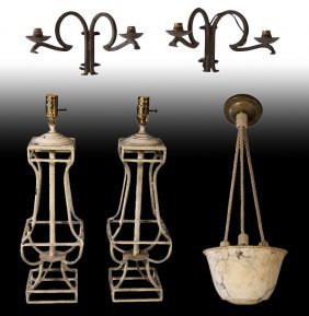 Wrought Iron Lamps Iron Sconces Alabaster Dome