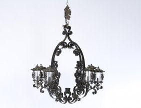 8 Light Wrought Iron Chandelier Glass Shades 1950
