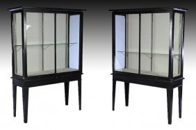 Pair Painted Mahogany Display Cases