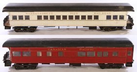 2 Bench Made Large Scale Train Cars Labeled
