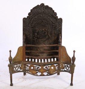 Late 19th C. Cast Iron Fireplace Insert Serpentin