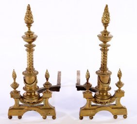 Pair Empire Bronze Andirons Flame Finials