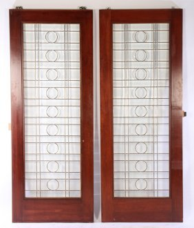 Pair Beveled Leaded Glass Doors Grid Designs