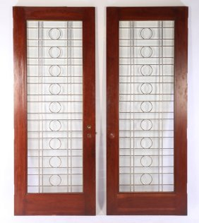 Pair Beveled Leaded Glass Doors Grid Pattern
