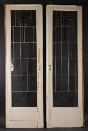Arts & Crafts Leaded Stained Glass Pocket Doors