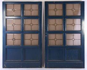 Pair Painted Doors Leaded Beveled Glass C.1900