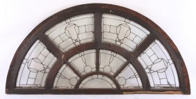 Large Arched Transom Leaded Glass Panels 1900