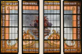 Painted And Leaded Glass Window 4 Panels 1920