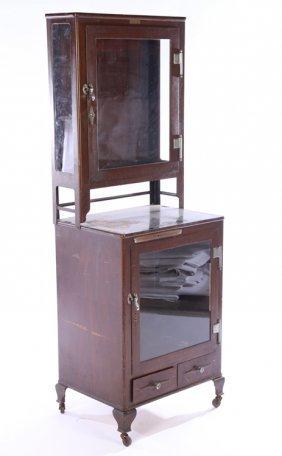 Vintage Metal Step Back Medical Cabinet