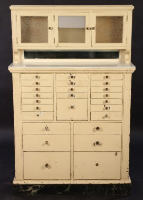 Antique 25 Drawer Dental Medical Cabinet
