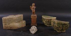 Seven Carved Stone Garden Ornaments