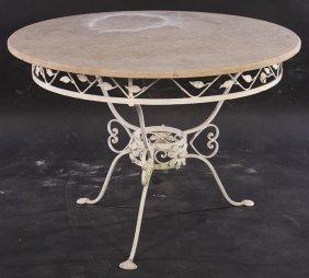 Round Garden Marble Iron Patio Table C. 1940