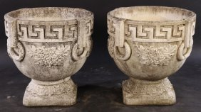 Large Pair Cast Stone Garden Urn Greek Key