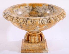 Carved Alabaster Table Top Urn Carved Socle