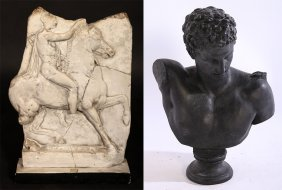 2 Neoclassical Cast Plaster Items Bust Of David