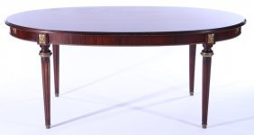 Bronze Mounted Mahogany French Dining Table 1930