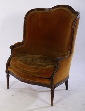 High Back French Louis Xvi Bergere Chair C.1900