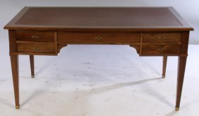 French Walnut Leather Top Writing Desk 1930