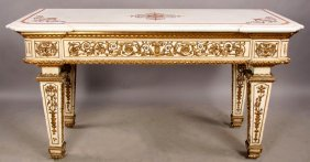 Italian Inlaid Marble Top Console