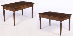 Pair French Provincial Table Fluted Tapered Legs
