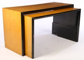 Pair Maple Ebonized Art Deco Nest Of Tables C1930