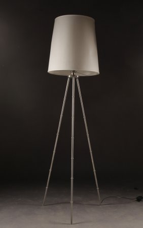 Stylish Modern Faux Bamboo Chrome Floor Lamp