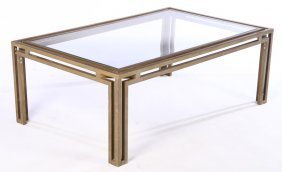 Mid Century Brass Coffee Table Glass Top 1970