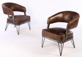 Pair Leather Wrought Iron Barrel Back Club Chairs