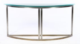 Modern Glass Top Demilune Console Table