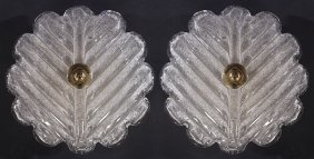 Pair Murano Glass Ceiling Fixtures C.1970