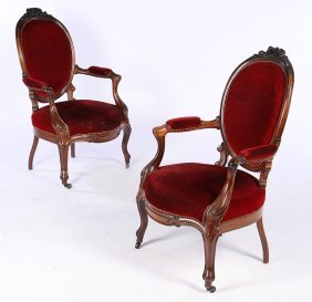 Pair Victorian Carved Rosewood Armchairs 1870