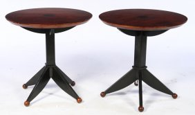 Art Deco Side Tables Round Tops